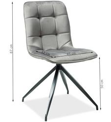 Krzesło welurowe sadie szare