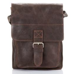 Skórzana torba męska listonoszka paolo peruzzi adventure ga130 ciemnobrązowa - c. brązowy