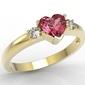 Pierścionek z żółtego złota z czerwonym topazem w kształcie serca i diamentami jp-90z - żółte  topaz red