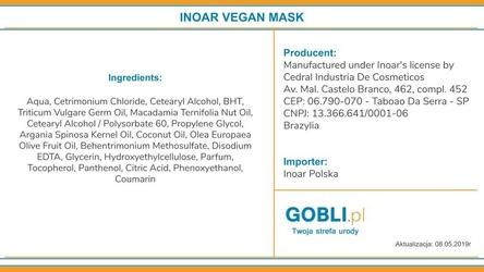 Inoar vegan maska wegańska odbudowująca włosy po zabiegach 500g