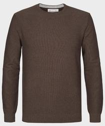 Brązowy sweter  pulower o-neck z bawełny  s
