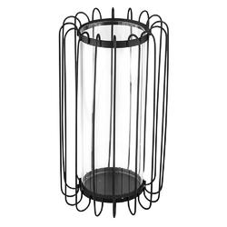 Świecznik metalowy altom design szprosowy czarny 16 x 16 x 28 cm z wkładem szklanym