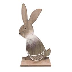 Figurka drewniana  ozdoba świąteczna na wielkanoc zając z koszyczkiem altom design 30 cm