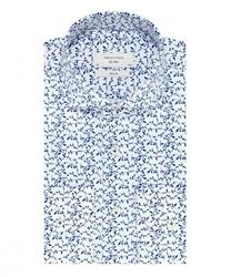 Elegancka biała koszula profuomo sky blue w granatowy roślinny wzór 40