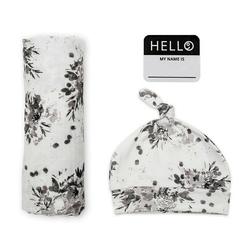 Kocyk - otulacz  120x120 + czapeczka lulujo -  black floral