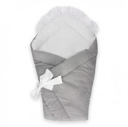 Dwustronny rożek niemowlęcy koronka gray
