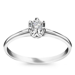 Staviori pierścionek. 1 diament, szlif brylantowy, masa 0,14 ct., barwa h, czystość si1. białe złoto 0,585. średnica korony ok. 3,7 mm.