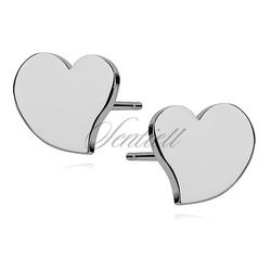 Srebrne kolczyki serca - rodowanie