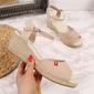 Sandały espadryle na koturnie beżowe big star ff274541 - beżowy