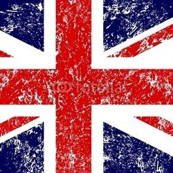Obraz na płótnie canvas czteroczęściowy tetraptyk flaga grunge - brytyjska