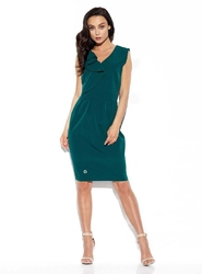 elegancka wizytowa sukienka z pionową falbanką - ciemno zielona
