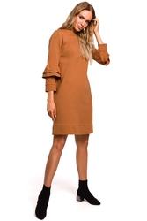 Sukienka sportowa fason a z falbankami przy rękawach karmelowa m446