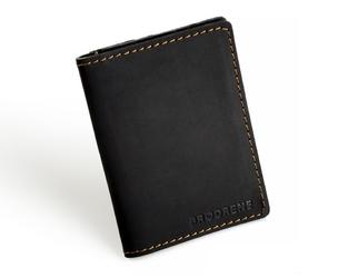 Skórzany cienki portfel slim wallet z bilonówką brodrene sw04 czarny - czarny