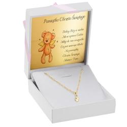 Złota zawieszka wisiorek aniołek z łańcuszkiem pr. 333 dedykacja - różowy dziewczynka