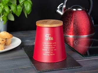 Puszka  pojemnik na herbatę z pokrywą bambusową stożkowa altom design czerwony, dek. tea
