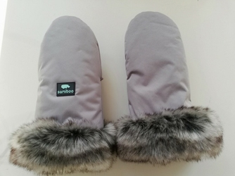 Rękawice z futerkiem samiboo superb - szare