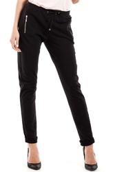 Czarne wąskie spodnie z suwakami