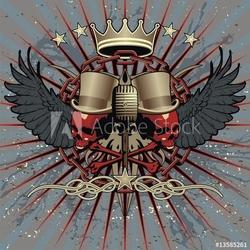 Obraz na płótnie canvas czteroczęściowy tetraptyk fajny emblemat rocka w stylu tatuażu.