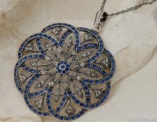 Balerina 2 - srebrny wisior z szafirami
