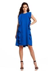 Chabrowa elegancka sukienka bez rękawów z falbankami