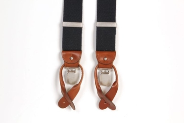 Granatowe szelki męskie do spodni, uniwersalne z jasnobrązowym zapięciem na guziki lub klipsy