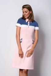 Elegancka różowa sukienka z kołnierzykiem polo ii