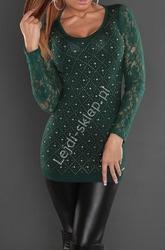 Butelkowo zielona tunika z koronkowymi rękawami | tuniki damskie 8059
