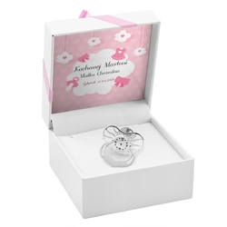 Smoczek ze srebra pr 925 prezent z grawerem - różowy