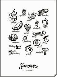 Plakat summer - eat seasonally 21 x 30 cm