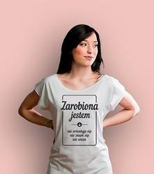 Zarobiona jestem t-shirt damski biały xxl