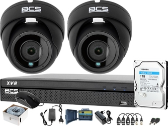 2 x kamery zewnętrzne bcs-dmq2203ir3-g + rejestrator bcs-xvr0401-iv + dysk 1tb + akcesoria