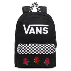 Plecak vans realm black checkerboard custom roses - vn0a4drmblk