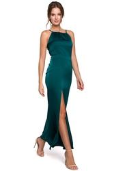 Sukienka wieczorowa maxi z rozcięciem na ramiączkach zielona k042