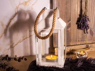 Latarenka  latarnia  lampion ozdobny wiszący metalowy altom design biała z uchwytem z plecionego sznurka 27,5 cm