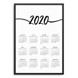 Art - kalendarz w ramie , wymiary - 60cm x 90cm, kolor ramki - biały