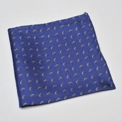 Granatowa poszetka jedwabna VAN THORN w parasolki