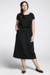 Czarna midi sukienka marszczona w talii plus size