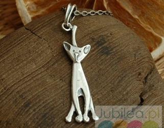 Kot - srebrny wisiorek