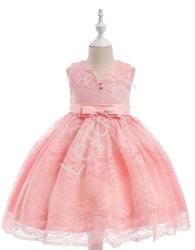 Sukienka dla dziewczynki, koronkowa z kokardami - jasnoróżowa