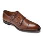 Eleganckie brązowe skórzane buty męskie podwójne monki 46