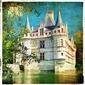 Obraz na płótnie canvas czteroczęściowy tetraptyk zamek na wodzie - obraz w stylu retro