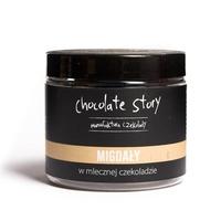 Migdały w czekoladzie - zdrowa przekąska w mlecznej czekoladzie 120g, 100 naturalnych składników, draże na bazie czekolady rzemieślniczej