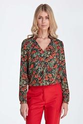 Elegancka bluzka z ozdobnym dekoltem - wzór pomarańcz