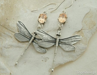 Ważki - srebrne kolczyki z topazem złocistym