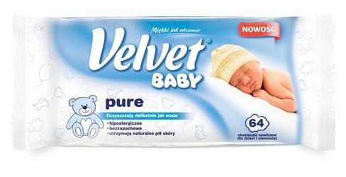 Velvet baby pure, chusteczki nawilżane dla dzieci i niemowląt, 64 sztuki