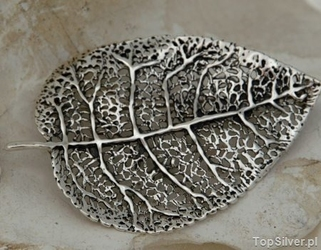 Liść - duża srebrna broszka