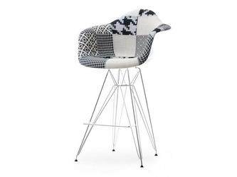 Hoker tunis biało-czarny patchwork z podłokietnikami
