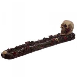 Czaszka z czerwoną różą - podstawka na kadzidła długie