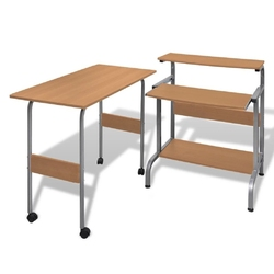 Zestaw biurko komputerowe + stół brązowe