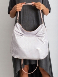 Torebka damska worek shopper bag 003 srebrna - srebrny